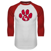 White/Red Raglan Baseball T Shirt-Paw