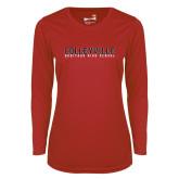 Ladies Syntrel Performance Red Longsleeve Shirt-Wordmark