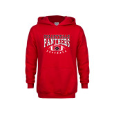 Youth Red Fleece Hoodie-Football Stacked