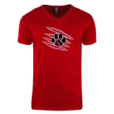 Next Level V Neck Red T Shirt-Primary Athletics Mark