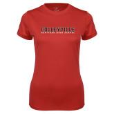 Ladies Syntrel Performance Red Tee-Wordmark
