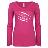 ENZA Ladies Hot Pink Long Sleeve V Neck Tee-Primary Athletics Mark