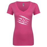 Next Level Ladies Junior Fit Ideal V Pink Tee-Primary Athletics Mark