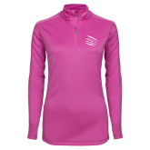 Ladies Syntrel Interlock Raspberry 1/4 Zip-Primary Athletics Mark