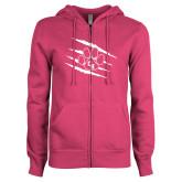 ENZA Ladies Fuchsia Fleece Full Zip Hoodie-Primary Athletics Mark
