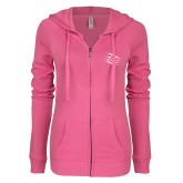 ENZA Ladies Hot Pink Light Weight Fleece Full Zip Hoodie-Primary Athletics Mark