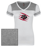 Ladies White/Heathered Grey Juniors Varsity V Neck Tee-Primary Athletics Mark