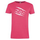 Ladies Fuchsia T Shirt-Primary Athletics Mark