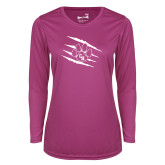Ladies Syntrel Performance Raspberry Longsleeve Shirt-Primary Athletics Mark