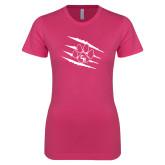 Ladies SoftStyle Junior Fitted Fuchsia Tee-Primary Athletics Mark