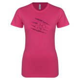 Ladies SoftStyle Junior Fitted Fuchsia Tee-M Hot Pink Glitter