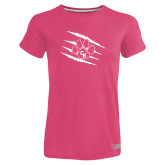 Ladies Russell Pink Essential T Shirt-Primary Athletics Mark