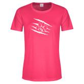 Ladies Performance Hot Pink Tee-Primary Athletics Mark