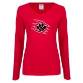 Ladies Red Long Sleeve V Neck Tee-Primary Athletics Mark