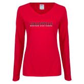 Ladies Red Long Sleeve V Neck Tee-Wordmark