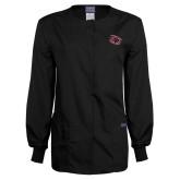 Ladies Black Snap Front Warm Up Scrub Jacket-Primary Athletics Mark