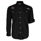 Columbia Bahama II Black Long Sleeve Shirt-Primary Athletics Mark