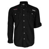 Columbia Bahama II Black Long Sleeve Shirt-Wordmark