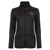 Black Heather Ladies Fleece Jacket-Primary Athletics Mark
