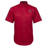 Red Twill Button Down Short Sleeve-Primary Athletics Mark