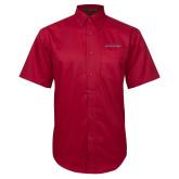 Red Twill Button Down Short Sleeve-Wordmark