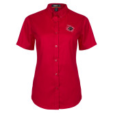Ladies Red Twill Button Up Short Sleeve-Primary Athletics Mark