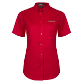 Ladies Red Twill Button Up Short Sleeve-Wordmark
