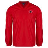 V Neck Red Raglan Windshirt-Primary Athletics Mark
