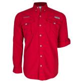Columbia Bahama II Red Long Sleeve Shirt-Wordmark