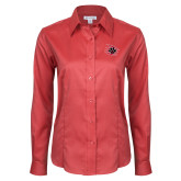 Ladies Red House Red Long Sleeve Shirt-Primary Athletics Mark