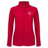 Ladies Fleece Full Zip Red Jacket-Primary Athletics Mark