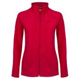 Ladies Fleece Full Zip Red Jacket-Wordmark