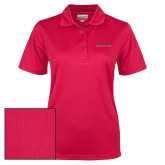Ladies Red Dry Mesh Polo-Wordmark