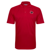 Red Textured Saddle Shoulder Polo-Primary Athletics Mark