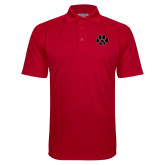 Red Textured Saddle Shoulder Polo-Paw