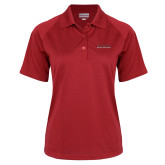 Ladies Red Textured Saddle Shoulder Polo-Wordmark