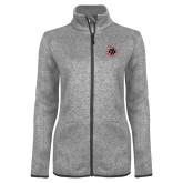 Grey Heather Ladies Fleece Jacket-Primary Athletics Mark