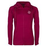 Ladies Sport Wick Stretch Full Zip Deep Berry Jacket-Primary Athletics Mark