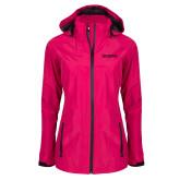 Ladies Dark Fuchsia Waterproof Jacket-Wordmark