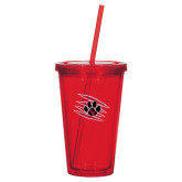 Madison Double Wall Red Tumbler w/Straw 16oz-Primary Athletics Mark