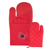Quilted Canvas Red Oven Mitt-Primary Athletics Mark