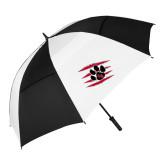 62 Inch Black/White Vented Umbrella-Primary Athletics Mark