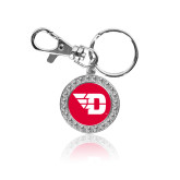 Crystal Studded Round Key Chain-Flying D