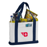 Contender White/Navy Canvas Tote-Flying D