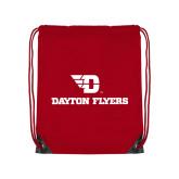 Red Drawstring Backpack-Dayton Flyers