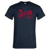 Navy T Shirt-Dayton Flyers Wave Design