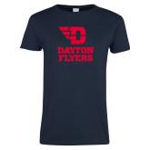 Ladies Navy T Shirt-Dayton Flyers Stacked