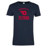 Ladies Navy T Shirt-Property of Dayton Flyers