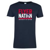 Ladies Navy T Shirt-Flyer Nation