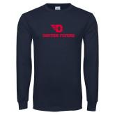 Navy Long Sleeve T Shirt-Dayton Flyers